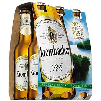 Krombacher Cerveza rubia alemana Pack 6 botella 33 cl