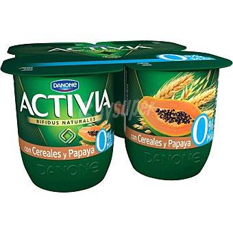 Activia Danone Yogur desnatado con cereales y papaya 0% materia grasa Pack 4 unidades 125 g