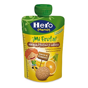 Hero Baby Bolsita de fruta naranja plátano y galleta 100% natural sin azúcares añadidos Nanos Envase 100 g