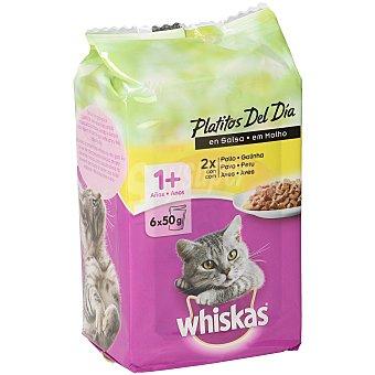 Whiskas Comida húmeda para gatos Platitos del día Mix Aves 6 x 50 gr