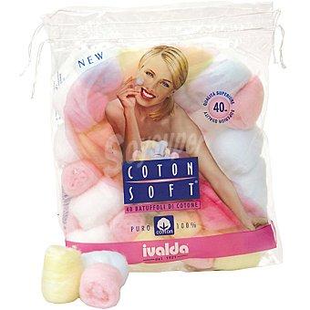 IVALDA Bolas de algodón Coton Soft Bolsa 40 unidades