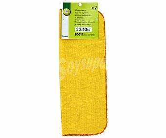 Productos Económicos Alcampo Lote de 2 gamuzas de 30x40 centímetros y de color amarillo, fabricadas en algodón 100% 1 unidad