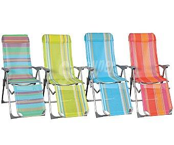 GARDEN STAR Tumbona plegable con 5 posiciones para camping y playa. Fabricada en aluminio, tubo oval, con asiento y respaldo de textileno y reposabrazos liso 1 unidad