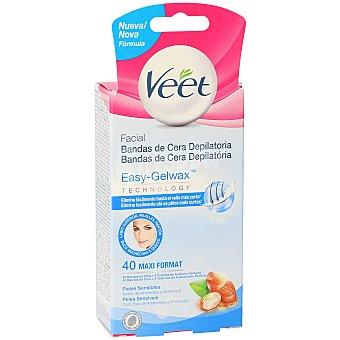 Veet Bandas de cera depilatoria facial Easy-Gelwax con Aceite de Almendras y Vitamina E para pieles sensibles Caja 40 u