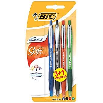 BIC Atlantis Soft Pack 3 bolígrafos con 1 gratis en colores variados Pack 3