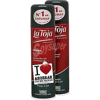 La Toja Espuma de afeitar Hidrotermal Classic con sales minerales y pro-vitamina B5 para piel normal + 50 ml gratis (pack precio especial) Pack 2 spray 250 ml