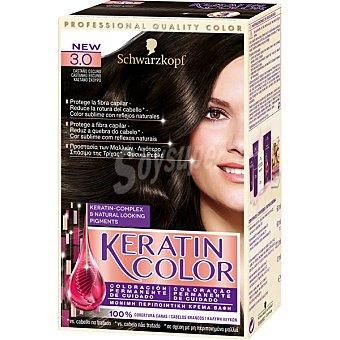 Keratin Color Schwarzkopf Tinte nº 3.0 castaño oscuro coloración permanente de cuidado caja 1 unidad Caja 1 unidad