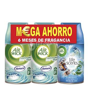 Air Wick Pack Ambientador Automático Recambio 2 Freshmatic Max Nenuco + 1 Life Scents Oasis Turquesa 3 unidades