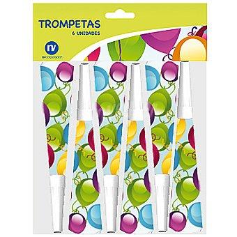 NV CORPORACION Trompetas de fiesta decoradas con globos envase 6 unidades Envase 6 unidades