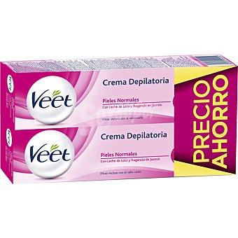 VEET Crema depilatoria con leche de loto y jazmín para piel normal  2 tubos de 200 ml