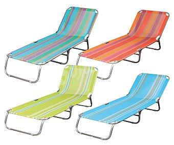 GARDEN STAR Cama plegable de 3 apoyos para camping y playa. Fabricada en aluminio y con textileno en toda su superficie 1 unidad
