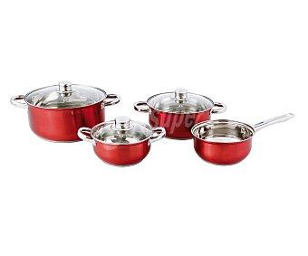 Quid Conjunto modelo Red Sheen compuesto por 1 cazo y 3 cacerolas de acero inoxidable con esmalte exterior rojo, incluye 3 tapas de vídrio, aptas para inducción 1 unidad