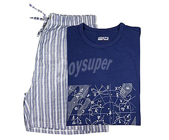 2U Pijama con camiseta de manga corta y pantalón corto color azul marino, talla L