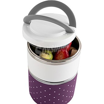 QUID Go Adapta Lunch Box Redondo térmico con interior de acero inoxidable 2 piezas de 60 cl y 20 cl en color blanco y morado 60 cl