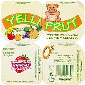 YELLIFRUT 0% m.g. gelatina con zumo de fresa refrigerado Pack 4 unds. 100 g