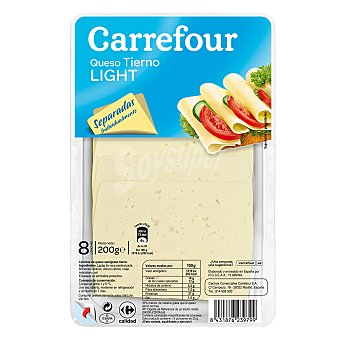 Carrefour Queso en loncha tierno light 200 g