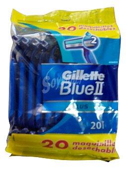Gillette Maquinilla afeitar desechable plus blue ii Paquete 20 u