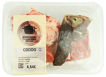 Arreglo de cocido fresco (gallina, espinazo, tocino, garreta ternera, hueso tuetano y jamon, chorizo y morcilla) Bandeja 900 g
