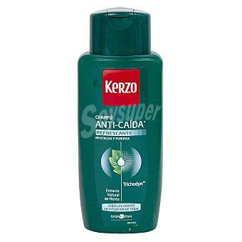 Kerzo Champú para hombre anti-caída refrescante (revitaliza el cabello) para cabellos grasos en situación de caída 400 mililitros
