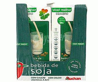 Auchan Bebida de Soja con Calcio Caja 4 Unidades