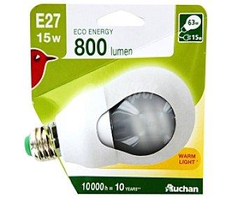 AUCHAN Bombilla bajo consumo Estándar E27 15W 1 Unidad
