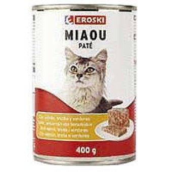 Eroski Paté con salmón Miaow Lata 400 g