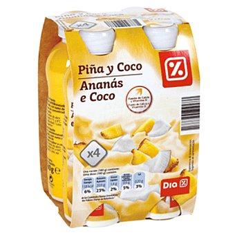 DIA Yogur líquido piña y coco botella 4x180 g
