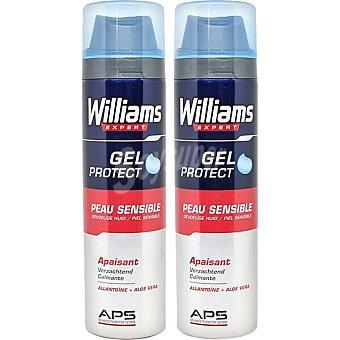 Williams Expert gel de afeitar Protect piel sensible Pack 2 spray 200 ml