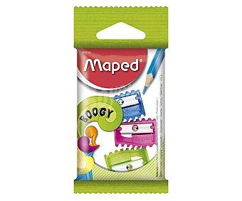 Maped Lote de 3 sacapuntas, con cuchilla metálica de alta calidad, sin compartimento de recogida y con cuerpo de plástico de color azul, verde o rosa MAPED