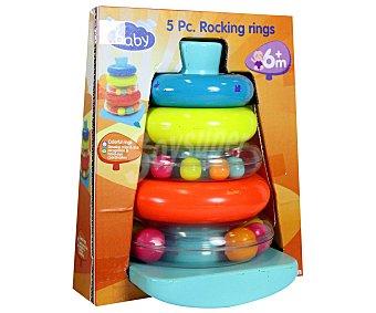 Pirámide de aros apilables de colores y con sonido baby.