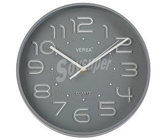 VERSA Reloj de pared fabricado en plástico color gris, 28 centímetros de diámetro 1 unidad