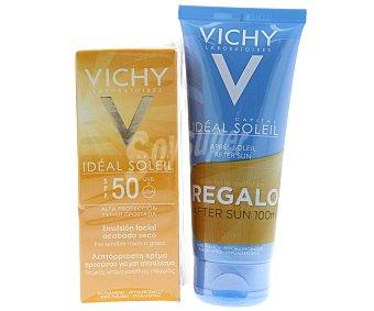 Vichy Emulsión facial con acabado seco especial para piel sensible mixta o grasa con factor de protección 50 Ideal 50 mililitros + regalo after sun 50 mililitros