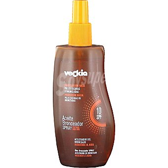 Veckia Aceite bronceador FP-10 piel oscura Spray 250 ml