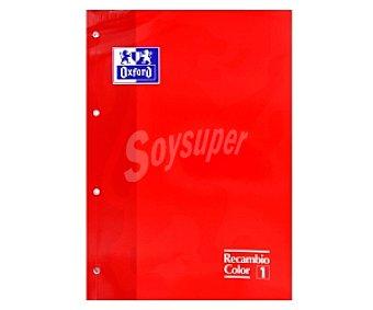 Oxford Recambio tamaño folio, con cuadrícula de 5x5 milímetros, margen izquierdo, 4 taladros, 80 hojas de 90 gramos y tapa de color rojo 1 unidad