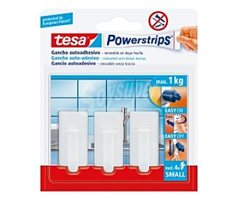 Tesa Juego de 3 ganchos adhesivos y removibles sin dejar huella de tamaño mini y de color blanco + 4 tiras adhesivas, modelo Powerstrips 3 unidades
