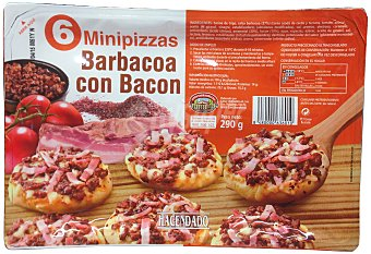 Hacendado Pizza congelada barbacoa mini Pack de 6X290gr