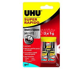 UHU Lote de 3 mini tubos de adhesivo extrafuerte e instantáneo de 1 gramo, ideal para superficies porosas y o verticales 1 unidad