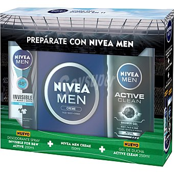 Nivea For Men Pack con desodorante invisible for black & white + creme men lata 150 ml + gel de ducha Active Clean frasco 250 ml spray 200 ml