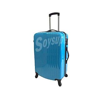 Maleta Maleta de 4 ruedas, cuerpo de ABS, rígida, con diseño de rayas verticales y de color azul brillante, medida: 70 centímetros 70cm