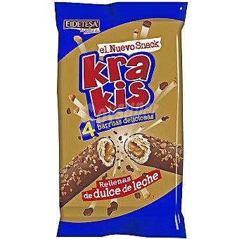 Eidetesa Krakis 4 barritas rellenas de dulce de leche Paquete 170 g