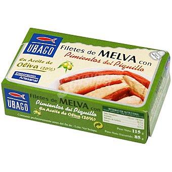 Ubago filetes de melva con pimientos del piquillo en aceite de oliva lata 85 g