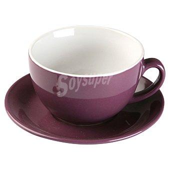 QUO Taza de desayuno con plato en color morado 1 Unidad