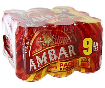 AMBAR ESPECIAL Cerveza Pack de 9 latas