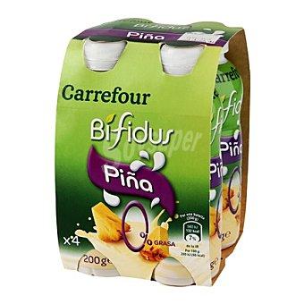 Carrefour Yogur Bífidus líquido 0% piña Pack 4x200 g