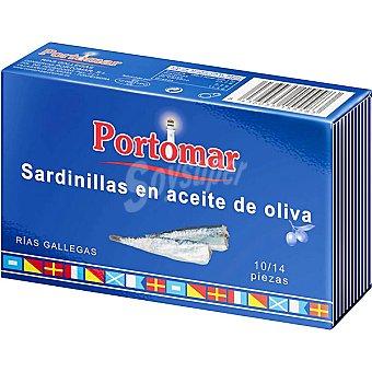 PORTOMAR SERIE NAUTICA Sardinillas de las rias gallegas en aceite de oliva 10-14 piezas lata 81 g neto escurrido Lata 81 g neto escurrido