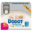 Pañales recién nacido de 2 A 5 kg talla 1 paquete 30 unidades 1 paquete 30 unidades Dodot Sensitive