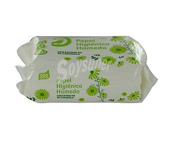 Productos Económicos Alcampo Papel higiénico húmedo con extracto de camomila 100 uds.