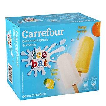 Carrefour Helados de sorbete de limón y naranja Pack 16x60 g
