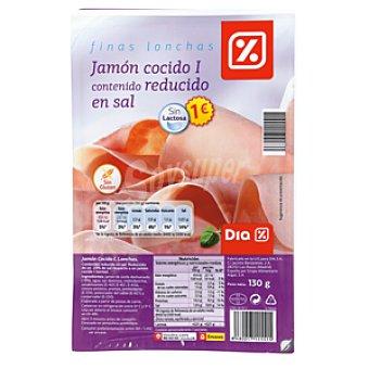DIA Finas lonchas de jamón cocido I bajo en sal sin lactosa Sobre 130 gr