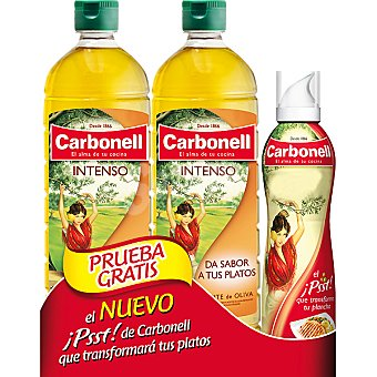 Carbonell Aceite de oliva intenso Pack 2 botellas 1 l + spray Pack 2 botellas 1 l